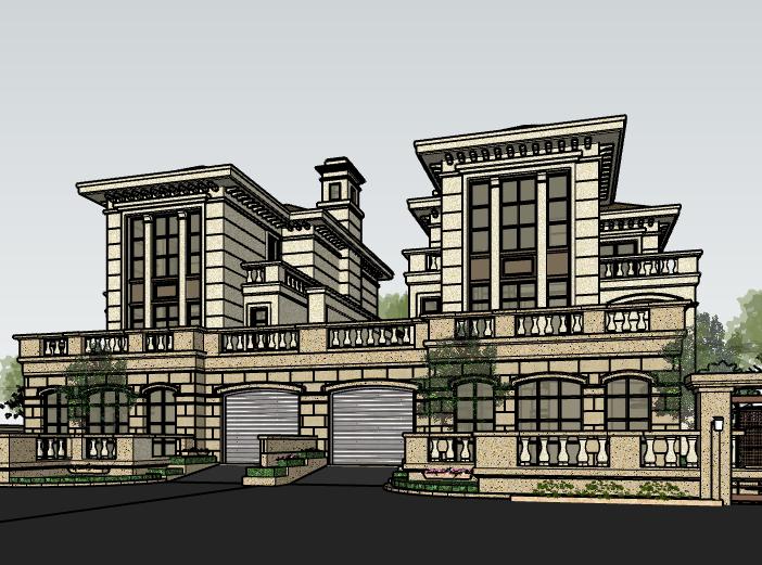 欧陆风格联排别墅建筑模型设计-别墅建筑SU模型2
