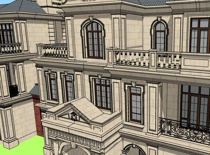 法式三层联排别墅建筑模型设计(水石国际)-别墅建筑SU模型5