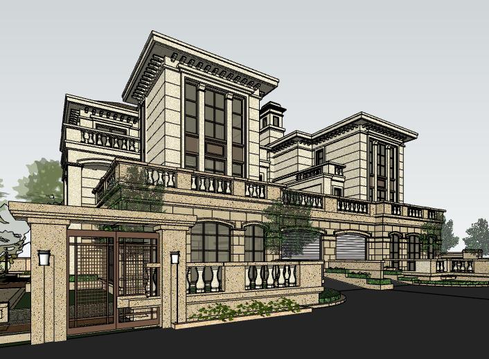 欧陆风格联排别墅建筑模型设计-别墅建筑SU模型4