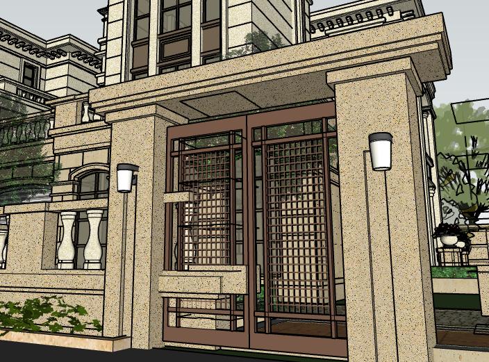 欧陆风格联排别墅建筑模型设计-别墅建筑SU模型6