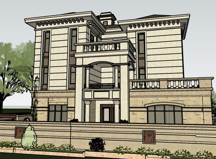 欧陆风格联排别墅建筑模型设计-别墅建筑SU模型5