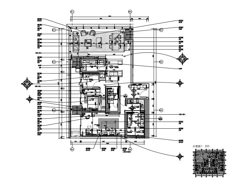 华润公寓B户型样板间室内装修施工图+软装方案+效果图+物料表
