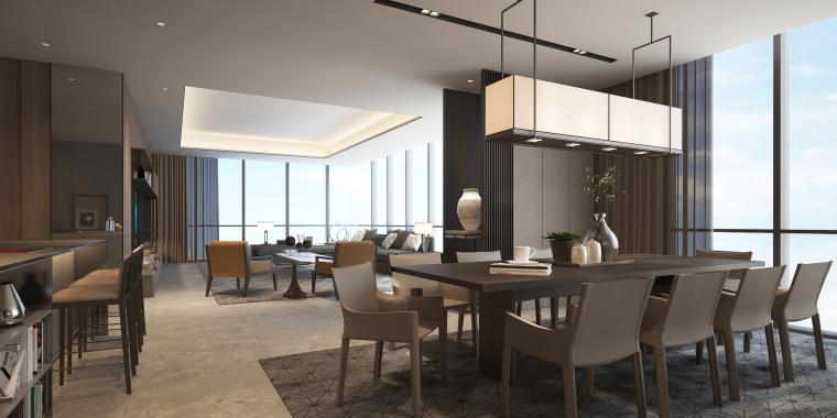 知名地产公寓D户型样板间室内装修施工图+效果图+物料表-01 (1)