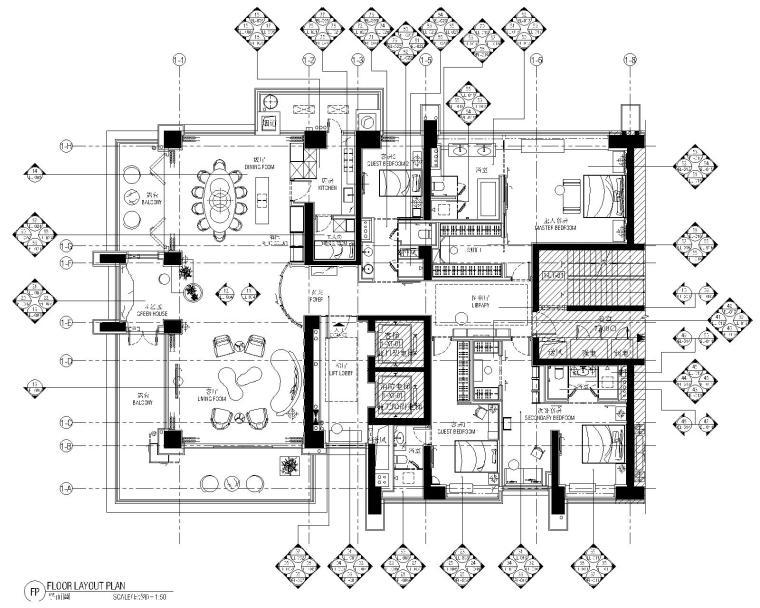 [广东]深圳鸿荣源一方中心5套样板房室内装修施工图+效果图