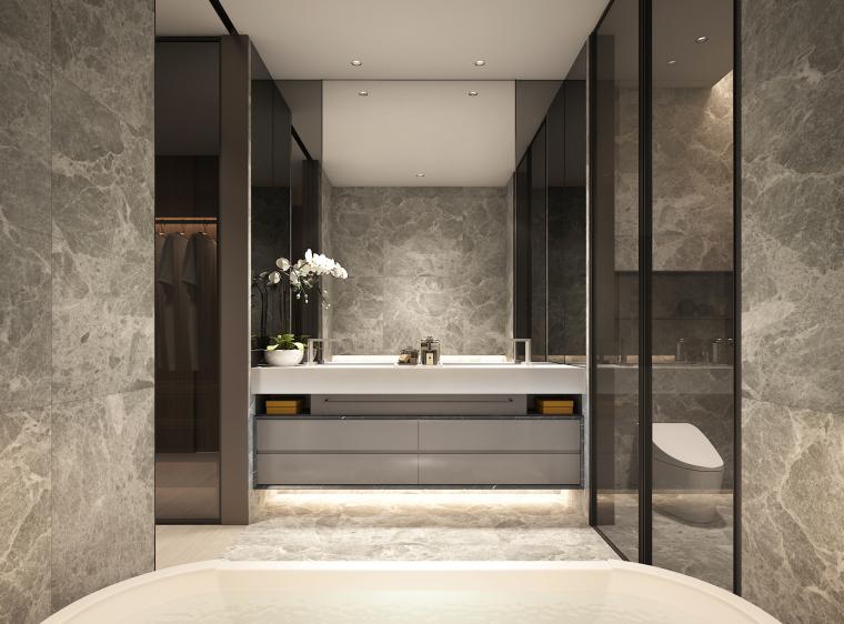 知名地产公寓D户型样板间室内装修施工图+效果图+物料表-01 (3)