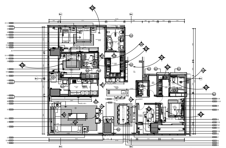 华润公寓D户型样板间室内装修施工图+效果图+物料表