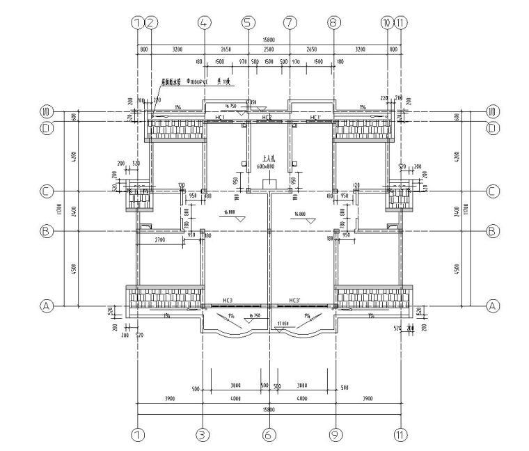 六层阁楼一梯二户住宅楼设计图含详图户型图-阁楼层平面图图