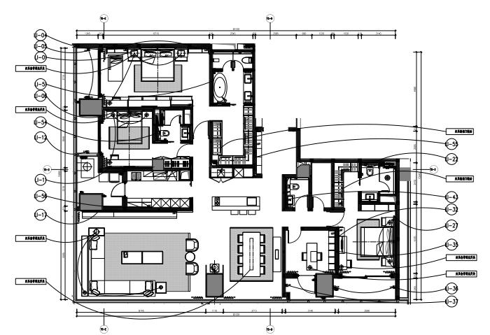 知名地产公寓D户型样板间室内装修施工图+效果图+物料表-5平面灯光图