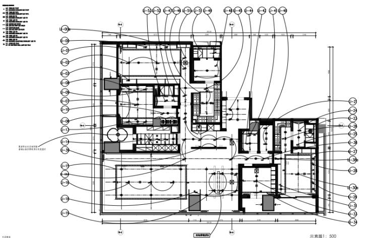 知名地产公寓D户型样板间室内装修施工图+效果图+物料表-4天花灯光控制图