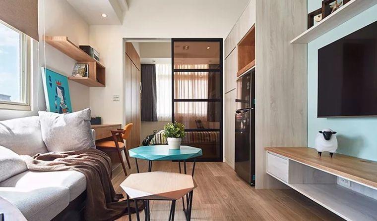 30㎡单身公寓北欧风,简洁线条,软装色彩增添活力!