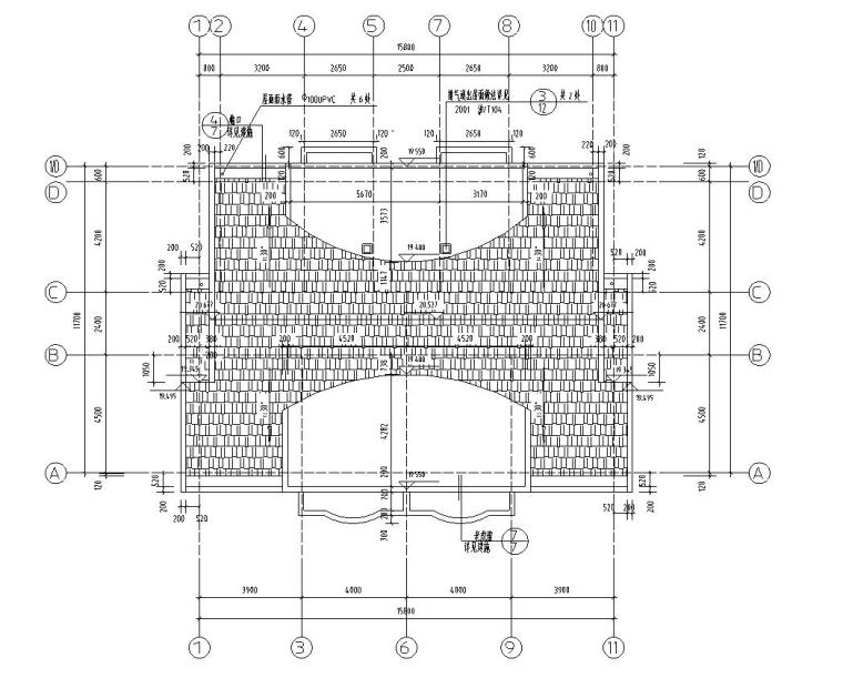 六层阁楼一梯二户住宅楼设计图含详图户型图-屋顶平面图一