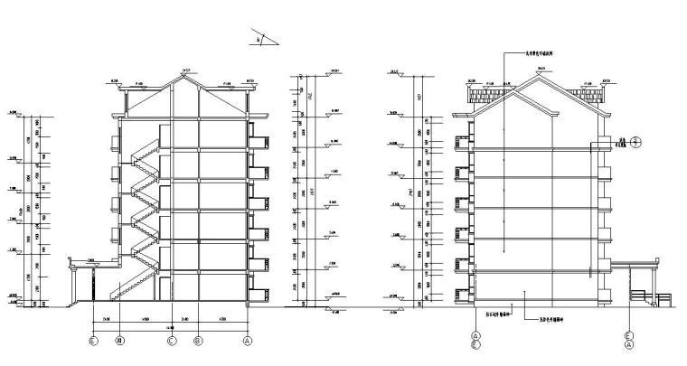六层阁楼一梯二户住宅楼设计图含详图户型图-剖面图