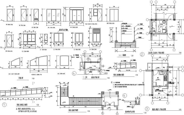 六层阁楼一梯二户住宅楼设计图含详图户型图-节点详图