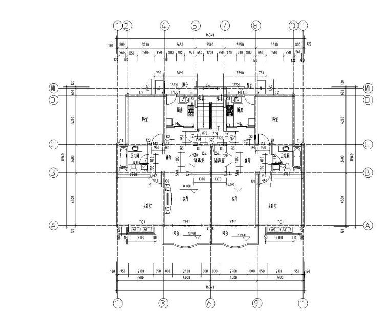 六层阁楼一梯二户住宅楼设计图含详图户型图-屋顶平面图
