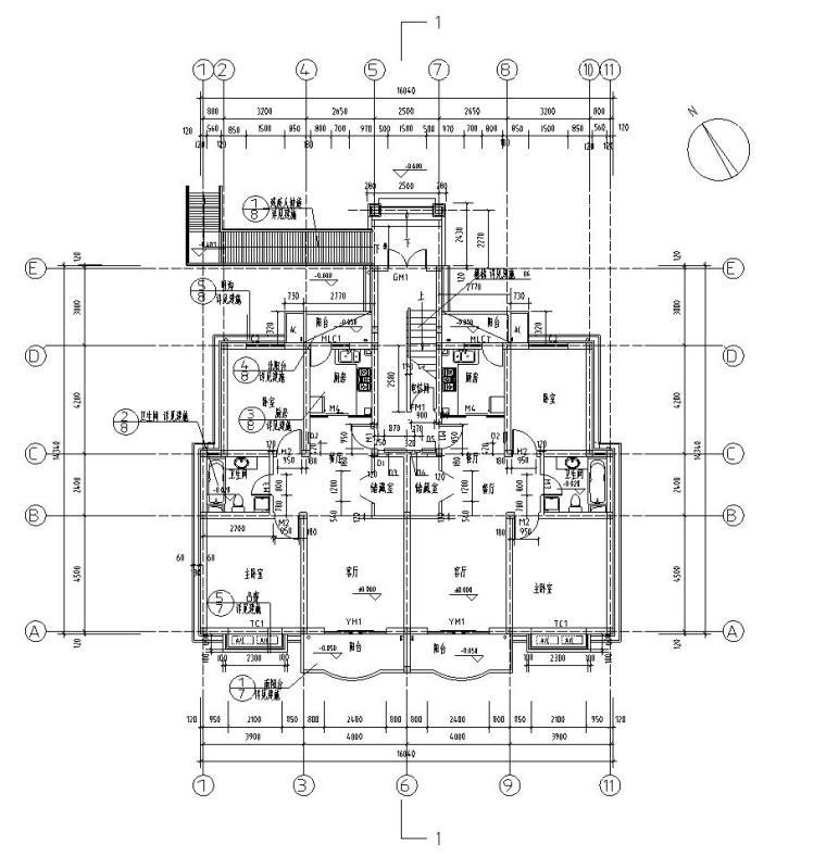 六层阁楼一梯二户住宅楼设计图含详图户型图-一层平面图