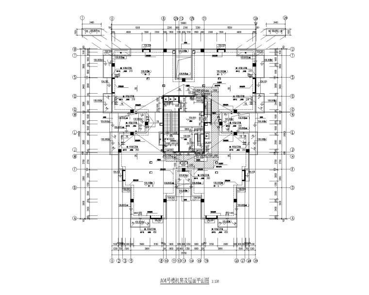 A04号楼机房及屋面平面图