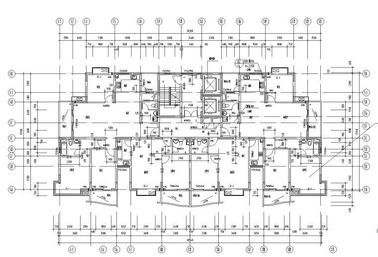 十八层1楼梯2电梯4户点式住宅楼设户型图