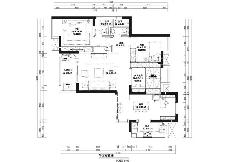 [湖北]武汉知名地产心语样板间CAD施工图+实景图-平面布置图
