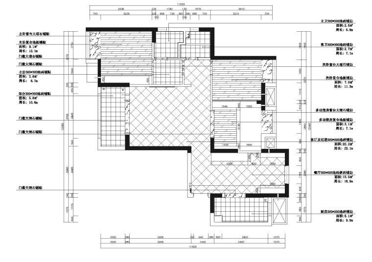[湖北]武汉知名地产心语样板间CAD施工图+实景图-地面铺装图