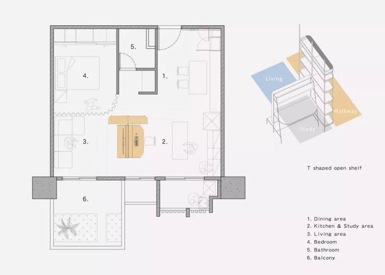 高雄46.2㎡T型紧凑住宅