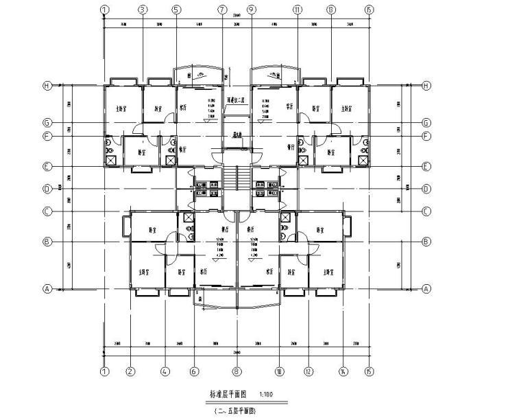 七层复式1梯4户点式住宅楼户型图