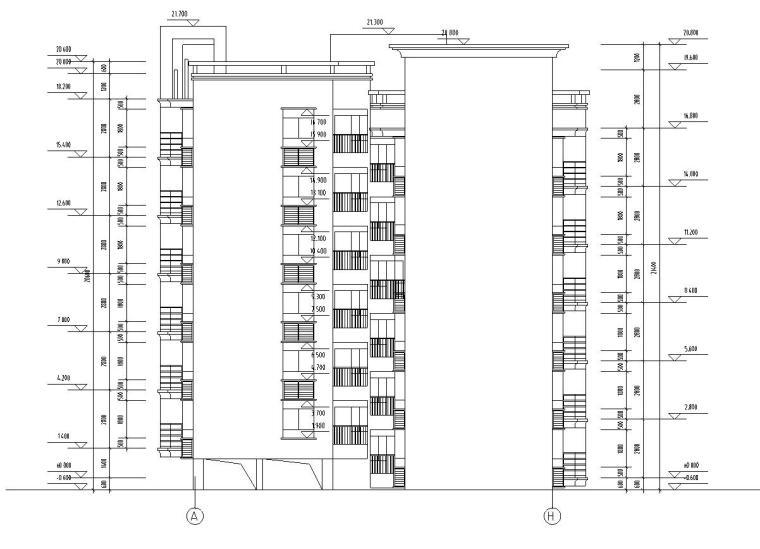 七层复式1梯4户点式住宅楼户型图-立面图