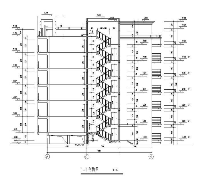 七层复式1梯4户点式住宅楼户型图-剖面图