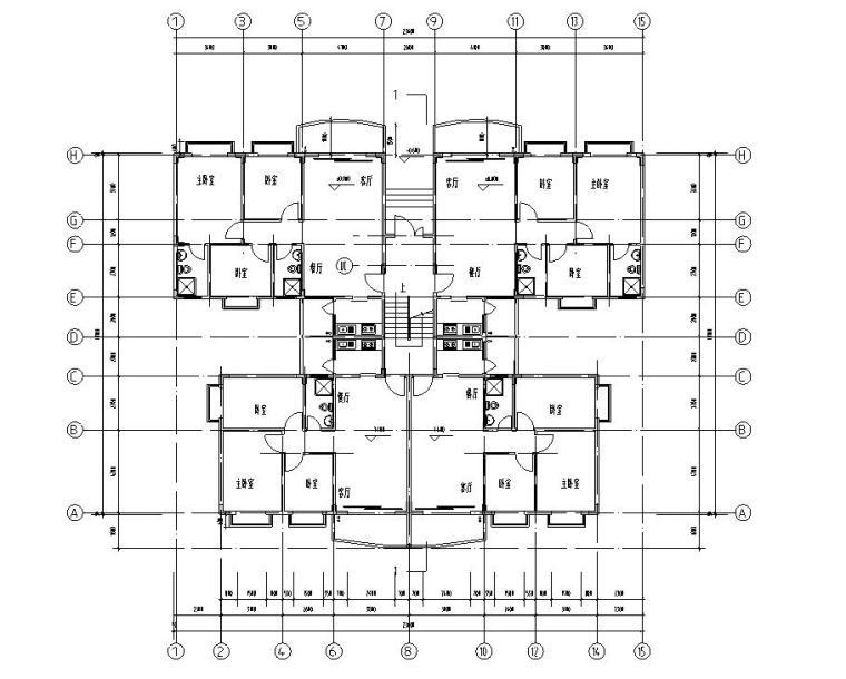 七层复式1梯4户点式住宅楼户型图-一层平面图