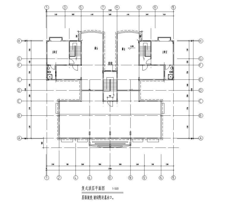 七层复式1梯4户点式住宅楼户型图-复式顶层平面图