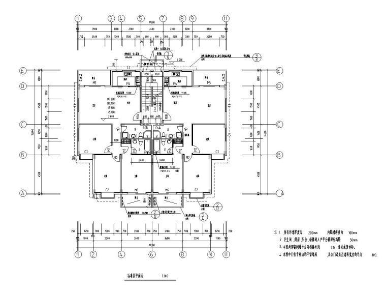 八层复式一梯二户普通住宅楼经典户型图