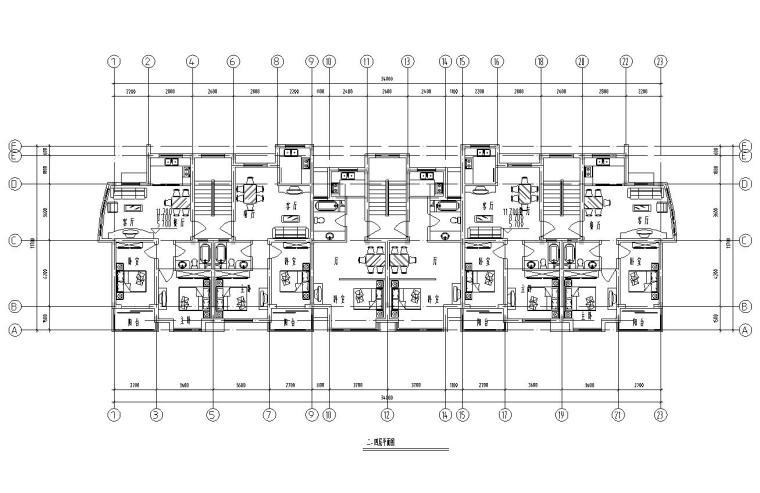 五层单身公寓楼3单元每单元2户对称户型设计-二-四层平面图