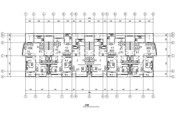 五层单身公寓楼3单元每单元2户对称户型设计-一层平面图