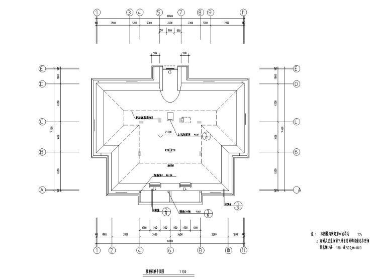 八层复式一梯二户普通住宅楼经典户型图-顶平面图