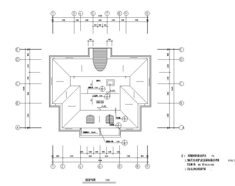 八层复式一梯二户普通住宅楼经典户型图-剖屋顶平面图