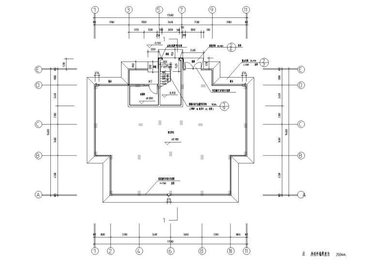 八层复式一梯二户普通住宅楼经典户型图-架空层平面图