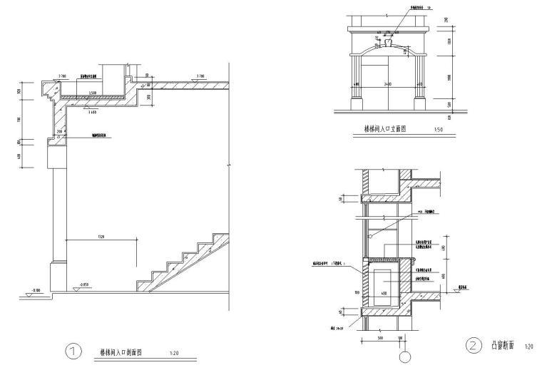 八层复式一梯二户普通住宅楼经典户型图-节点详图