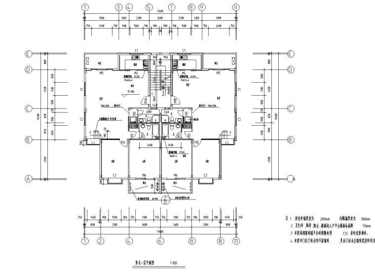 八层复式一梯二户普通住宅楼经典户型图-复式一层平面图