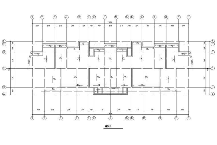 五层单身公寓楼3单元每单元2户对称户型设计-屋顶平面图