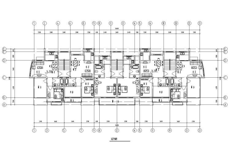 五层单身公寓楼3单元每单元2户对称户型设计-五层平面图