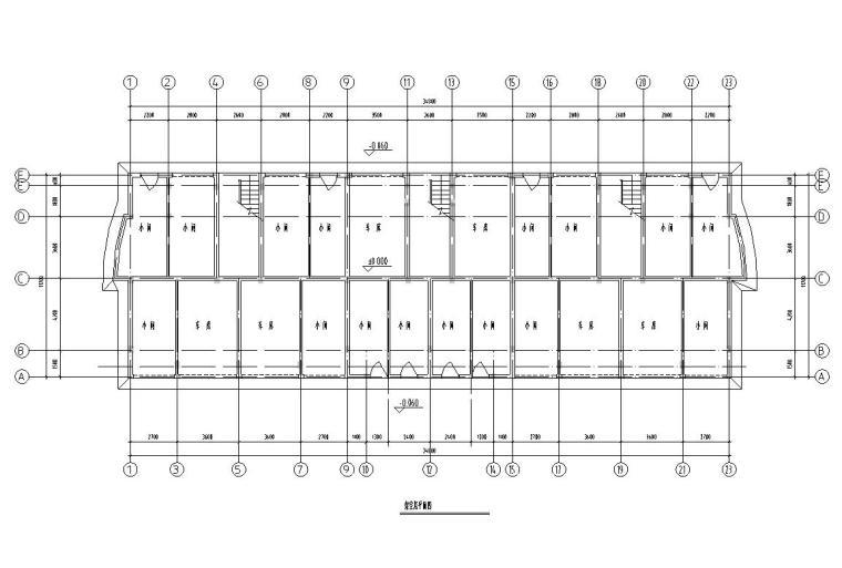 五层单身公寓楼3单元每单元2户对称户型设计-架空层平面图