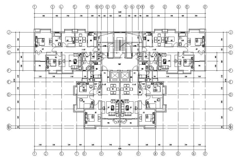 18层1楼梯2电梯4户点式住宅楼户型设计图