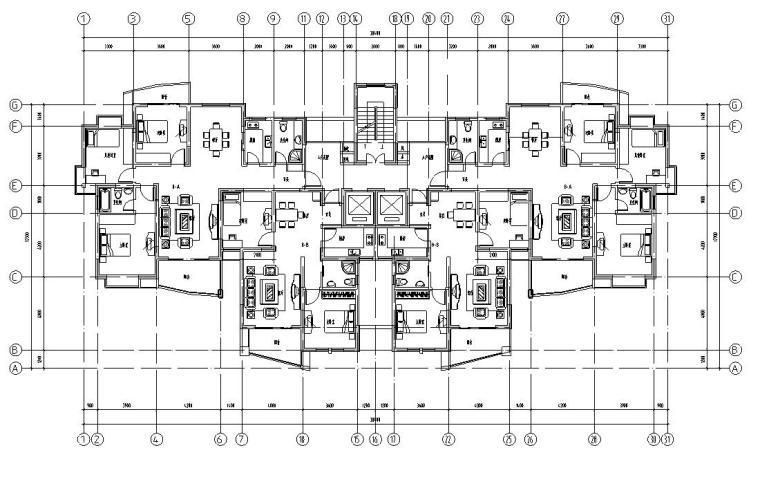 18层1楼梯2电梯4户点式住宅楼户型设计图-户型平面图一