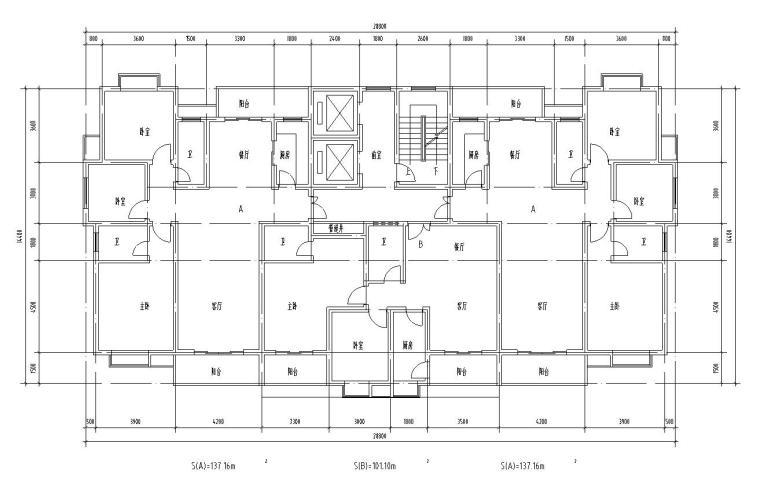 18层1楼梯2电梯4户点式住宅楼户型设计图-公摊设计