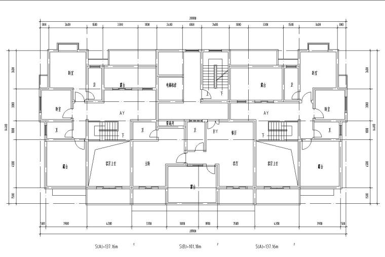 18层1楼梯2电梯4户点式住宅楼户型设计图-公摊设计一