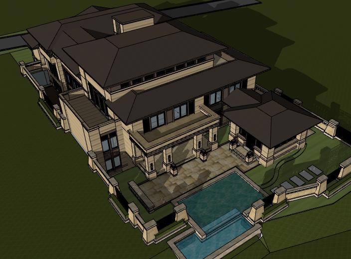田园法式风格独栋别墅建筑模型设计(水石国际)