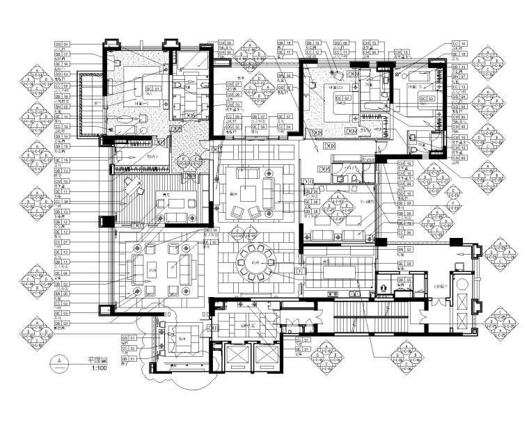 后现代奢华风格三居室别墅公寓室内装修施工图+效果图