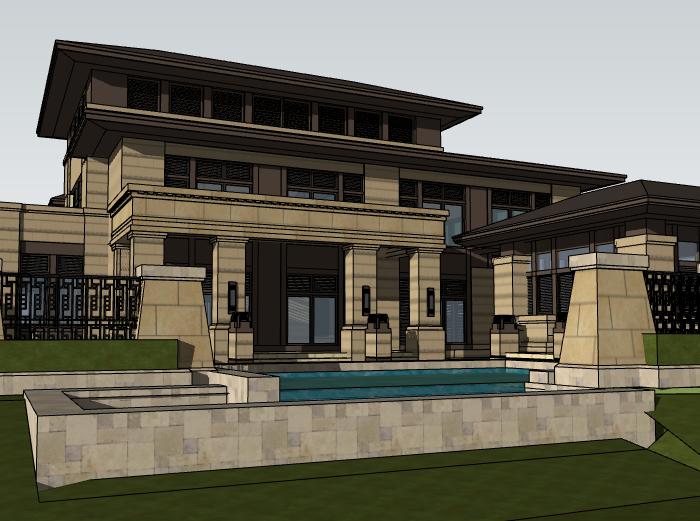 田园法式风格独栋别墅建筑模型设计(水石国际)-别墅建筑SU模型2