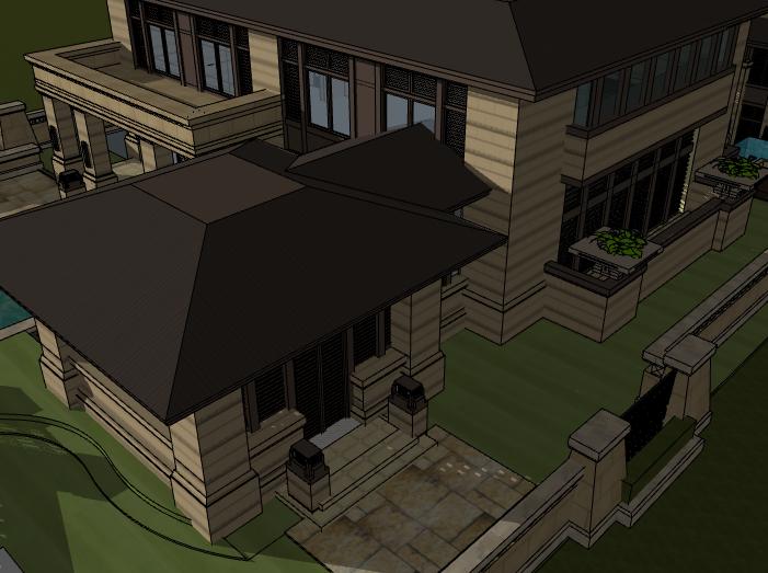田园法式风格独栋别墅建筑模型设计(水石国际)-别墅建筑SU模型3