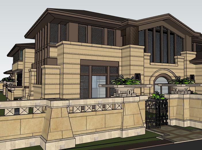 田园法式风格独栋别墅建筑模型设计(水石国际)-别墅建筑SU模型4