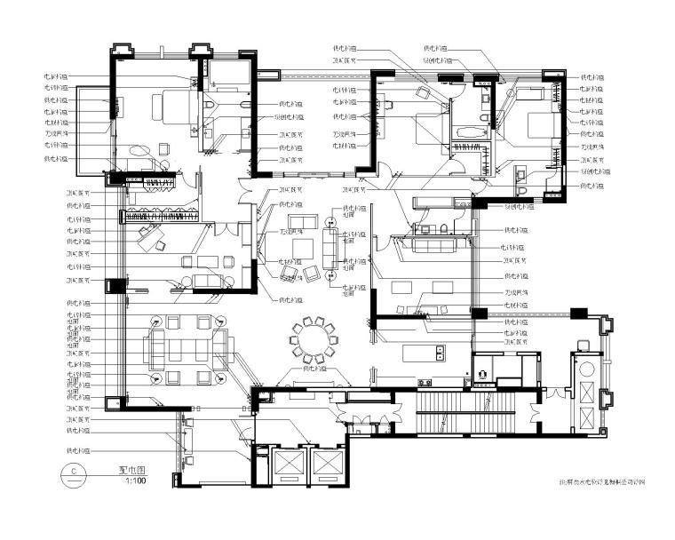 后现代奢华风格三居室别墅公寓室内装修施工图+效果图-3配电图